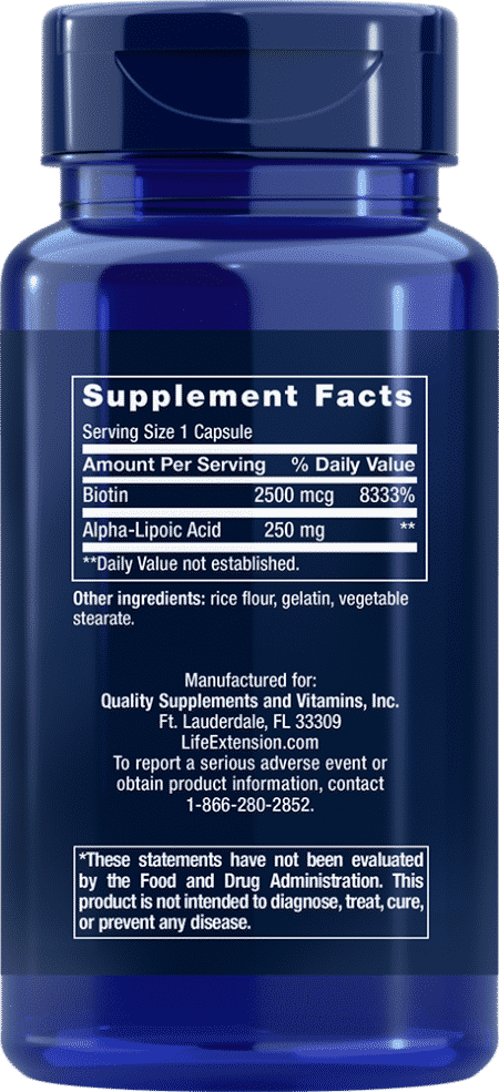 Alpha-Lipoic Acid with Biotin, 60 capsules 2