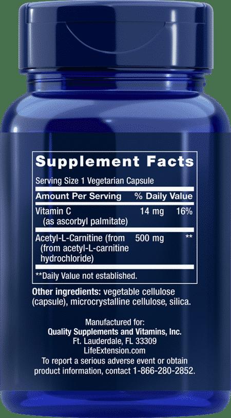 Acetyl-L-Carnitine, 500 mg, 100 VeggieC 2
