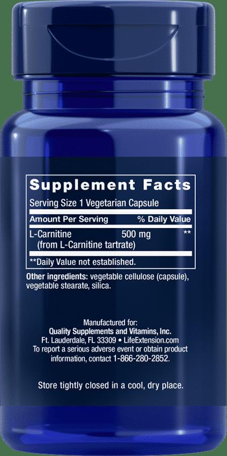 L-Carnitine, 500 mg, 30 vegetarian capsules 2