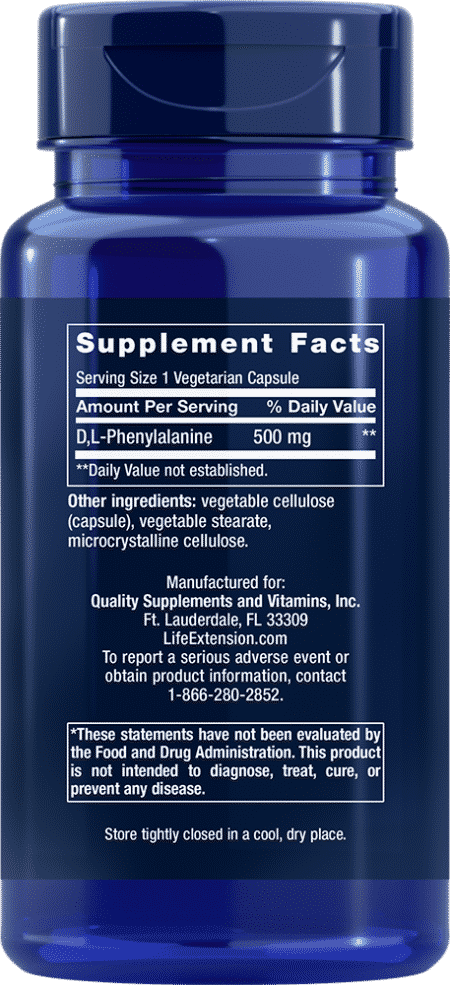 D, L-Phenylalanine Capsules, 500 mg, 100 VeggieC 2