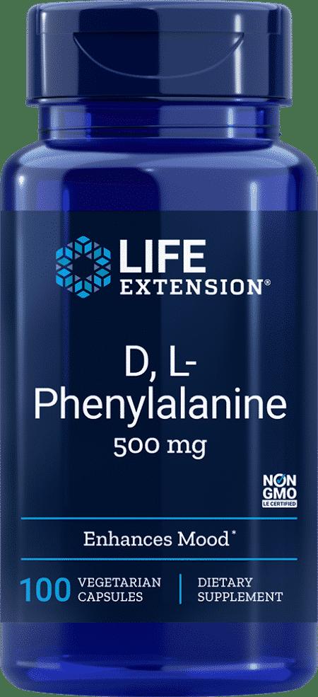 D, L-Phenylalanine Capsules, 500 mg, 100 VeggieC 1