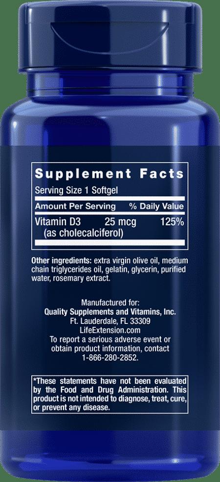 Vitamin D3, 1000 IU, 250 softgels 2