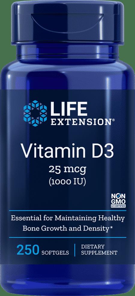 Vitamin D3, 1000 IU, 250 softgels 1