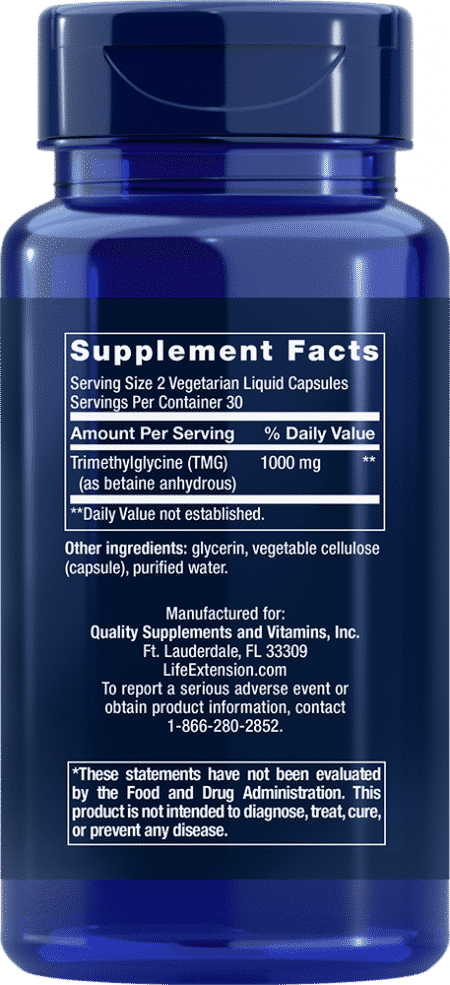 TMG, 500 mg, 60 liquid vegetarian capsules 2