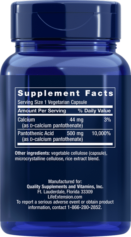 Pantothenic Acid (Vit B-5), 500 mg, 100 VeggieC 2